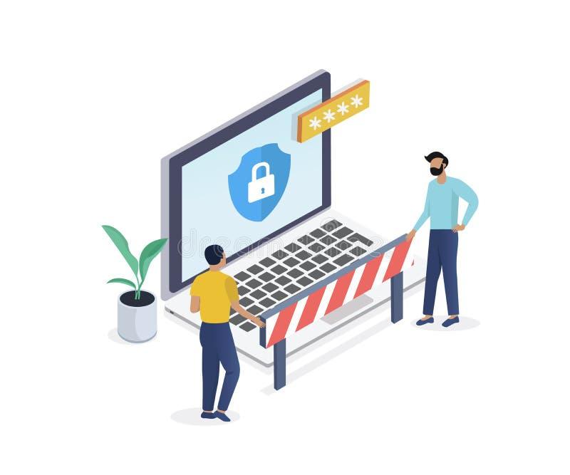 Концепция безопасностью интернета равновеликая Торгуйте шифрованием, мотыгой антивируса обеспечения секретности, VPN иллюстрация штока