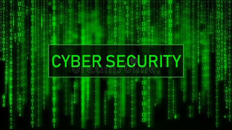 Концепция безопасностью кибер Матрица предпосылки цифров голубая Компьютерный код двоичной вычислительной машины r иллюстрация вектора