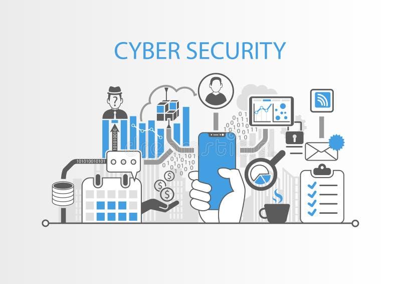 Концепция безопасностью кибер с рукой держа телефон современного шатона свободный умный иллюстрация штока