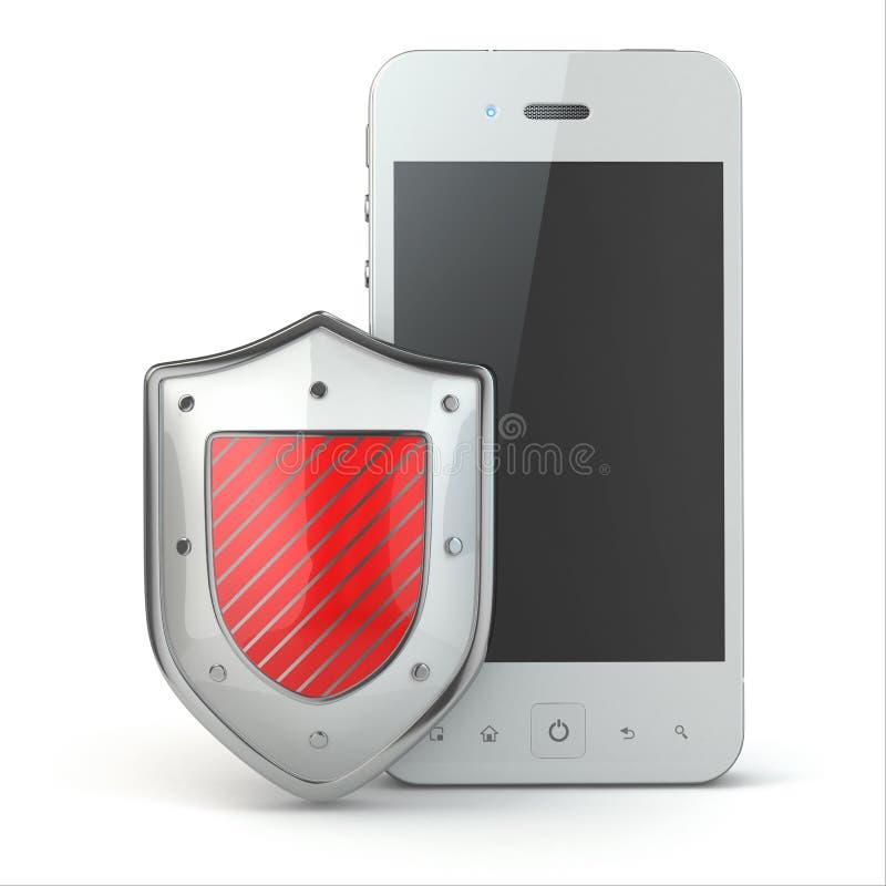 Концепция безопасностью мобильного телефона. Мобильный телефон и экран. иллюстрация штока