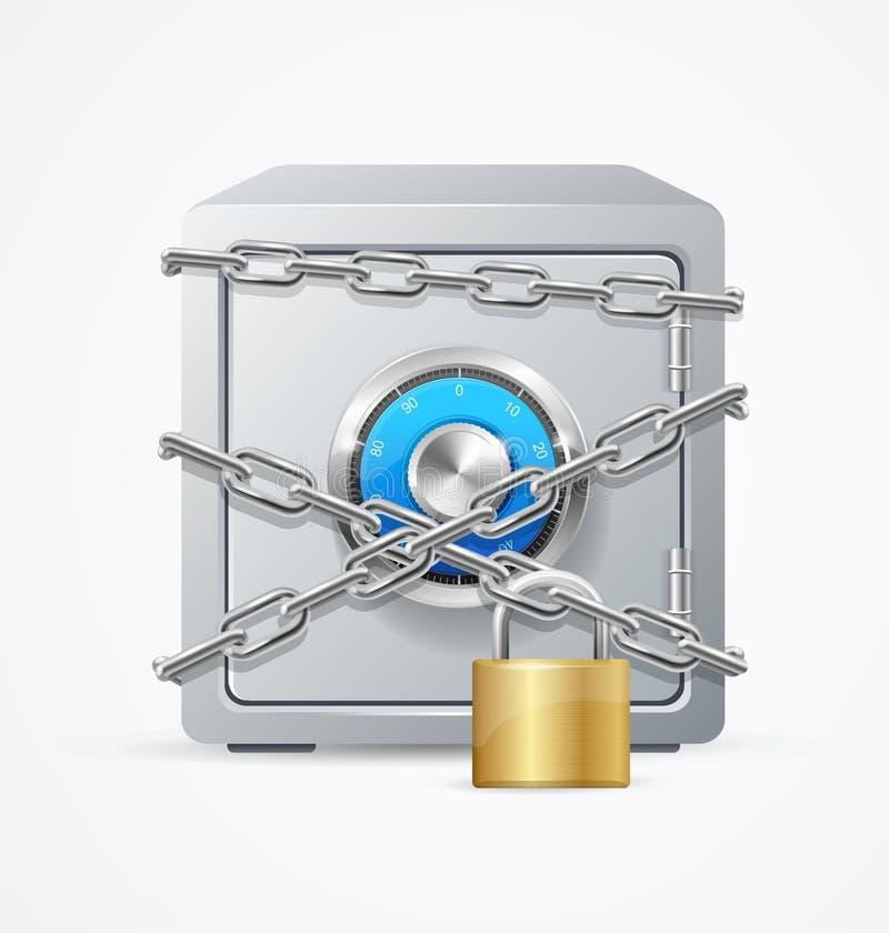 Концепция безопасностью сейфа и замка вектор иллюстрация вектора