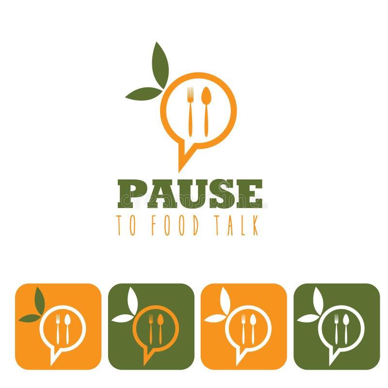 концепция беседы еды и комплект значка иллюстрация штока