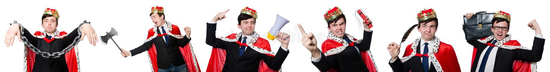 Концепция бизнесмена короля с кроной стоковое фото