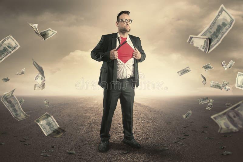 Концепция бизнесмена супергероя стоковая фотография rf