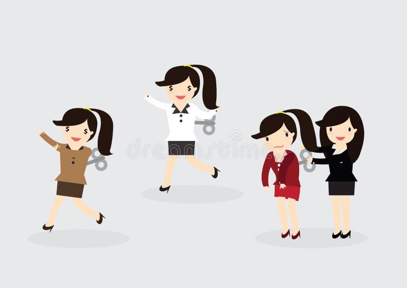 Концепция бизнес-леди ветра-Вверх иллюстрация штока