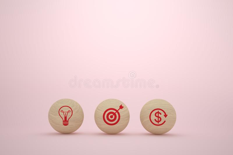 Концепция бизнес-плана с деревянной сферой со стратегией бизнеса и планом действий значка на розовой предпосылке бесплатная иллюстрация