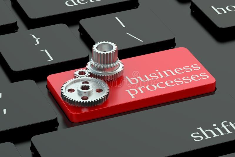 Концепция бизнес-процессов на кнопке клавиатуры иллюстрация вектора
