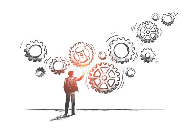 Концепция бизнес-системы вычерченный вектор руки иллюстрация вектора