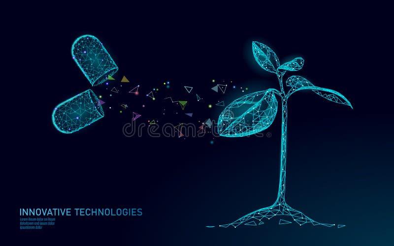 Концепция биотехнологии ростка завода абстрактная 3D представляют саженец дерево выходит геном ДНК проектируя дополнение витамина иллюстрация штока