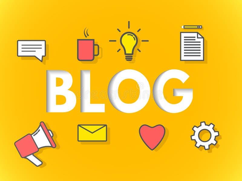 Концепция блога на желтой предпосылке Дело blogging для вебсайта, знамени, плаката Современный дизайн слоев Знак с значками иллюстрация вектора