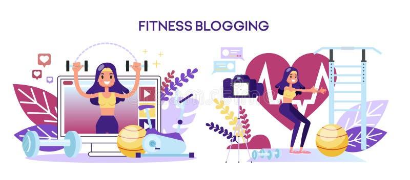 Концепция блога фитнеса Женский характер делая разминку бесплатная иллюстрация