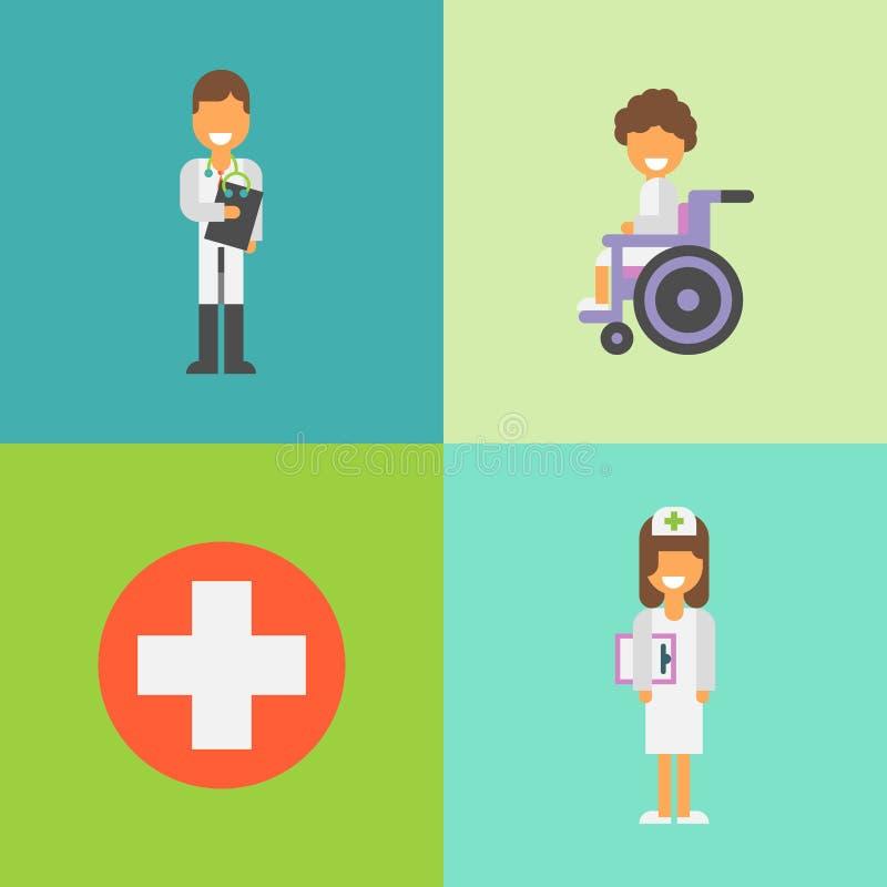 Концепция больницы Доктор и нюна Карточка или насмешка вверх иллюстрация вектора