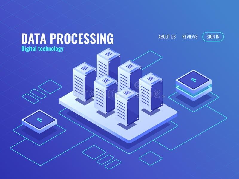 Концепция большого хранения данных и резервных равновеликих значка, базы данных комнаты сервера и центра данных, защищенной перед иллюстрация штока