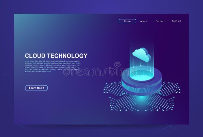 Концепция большого центра обработки данных, базы данных облака иллюстрация штока