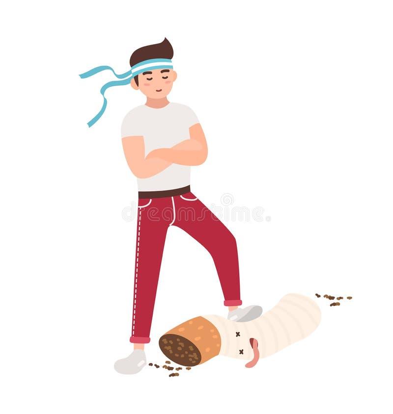 Концепция боя против курить Молодой парень топчет сигарету Красочная иллюстрация вектора в плоском стиле шаржа бесплатная иллюстрация