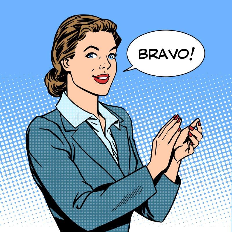 Концепция браво рукоплескания женщины успеха иллюстрация вектора