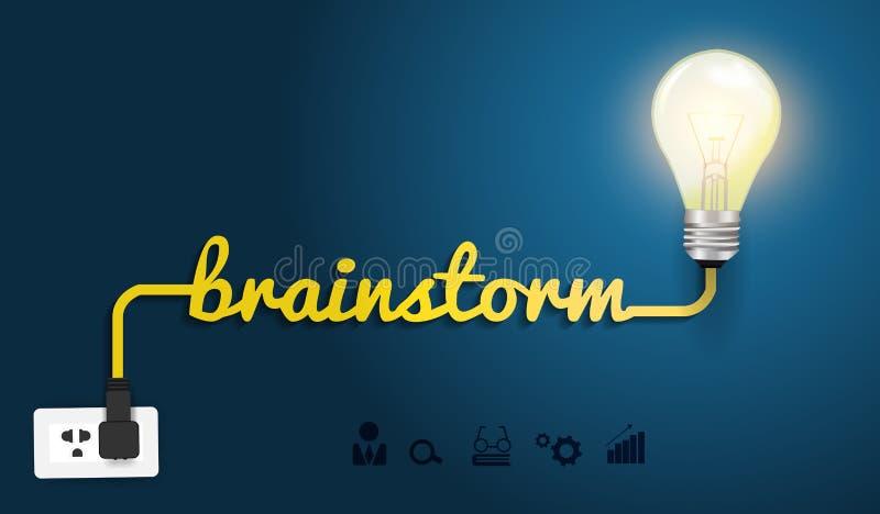 Концепция бредовой мысли вектора с творческой электрической лампочкой иллюстрация штока