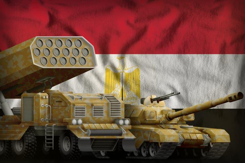 Концепция бронированных транспортных средств Египта тяжелая воинская на предпосылке национального флага иллюстрация 3d иллюстрация штока