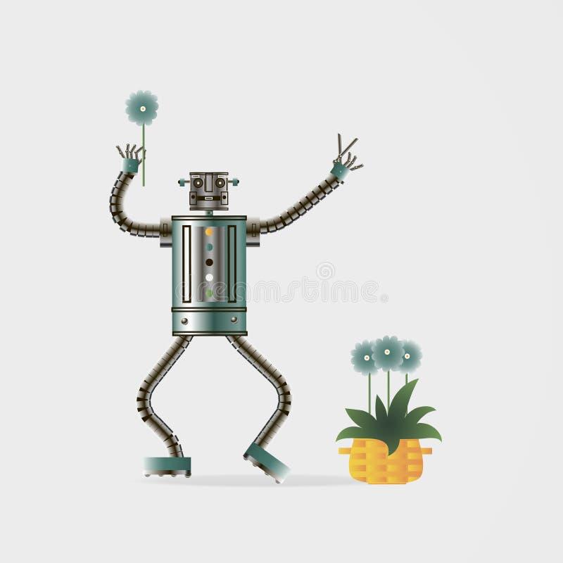 Концепция будущей высокой технологии Садовник робота радуется, который выросли цветки бесплатная иллюстрация