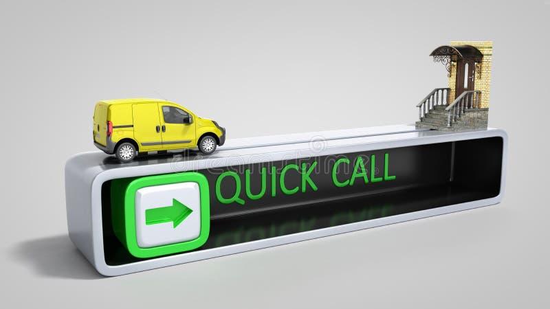 концепция быстрого заказа срочной поставки на двери 3d представляет иллюстрация штока