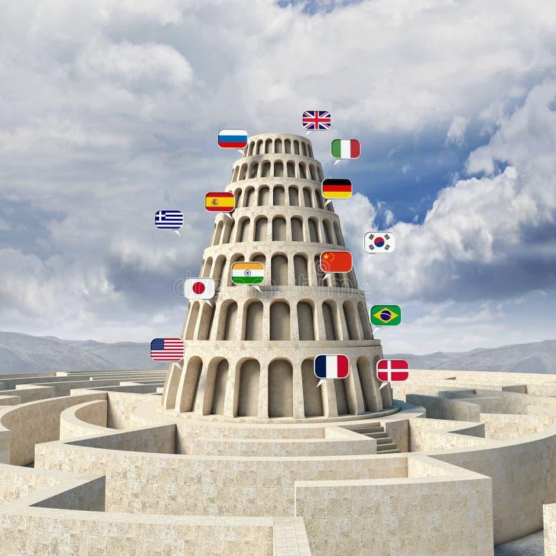 Концепция вавилонской башни иллюстрация вектора