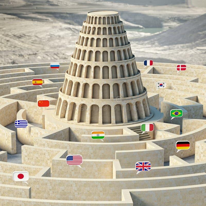 Концепция вавилонской башни бесплатная иллюстрация