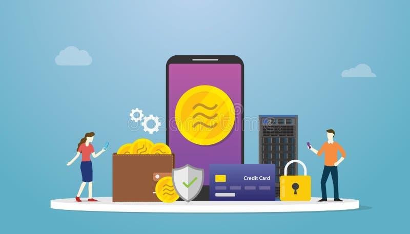 Концепция валюты Libra секретная со значком оплаты приложений смартфона и символа и финансов значка с современным плоским стилем  иллюстрация вектора