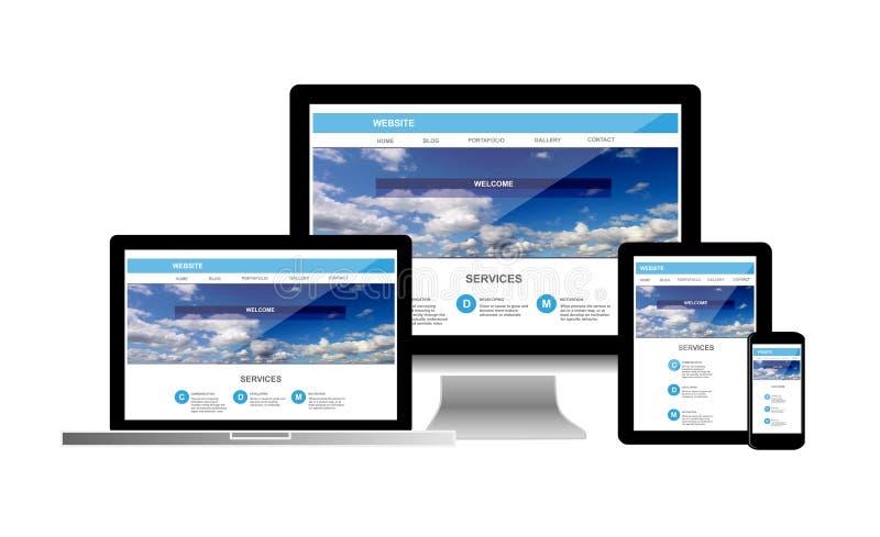 Концепция вебсайта по телефону планшета ноутбука компьютера стоковое изображение