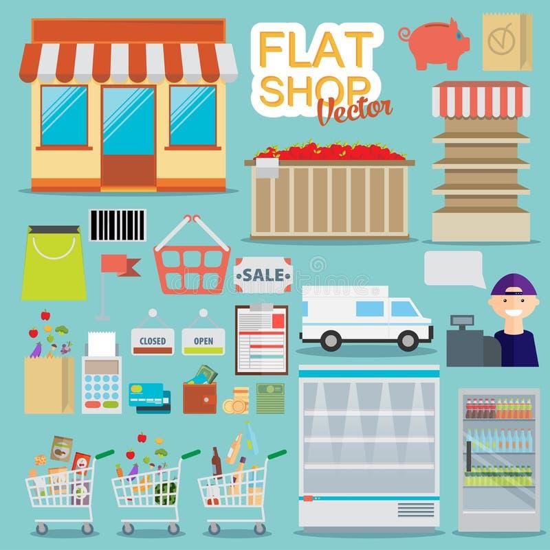 Концепция вебсайта супермаркета онлайн при ассортимент еды, раскрывая иллюстрация вектора