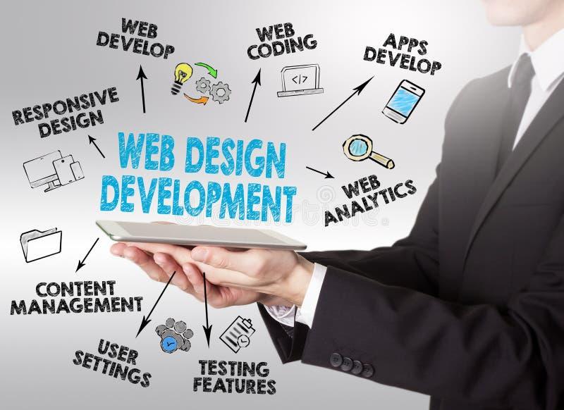 Концепция веб-дизайна и развития, молодой человек держа таблетку c стоковое фото rf