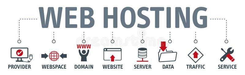 Концепция веб - хостинга знамени с значками иллюстрация вектора