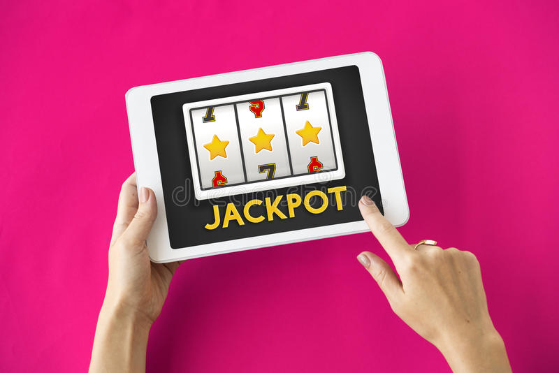 Концепция везения казино джэкпота онлайн стоковое фото rf