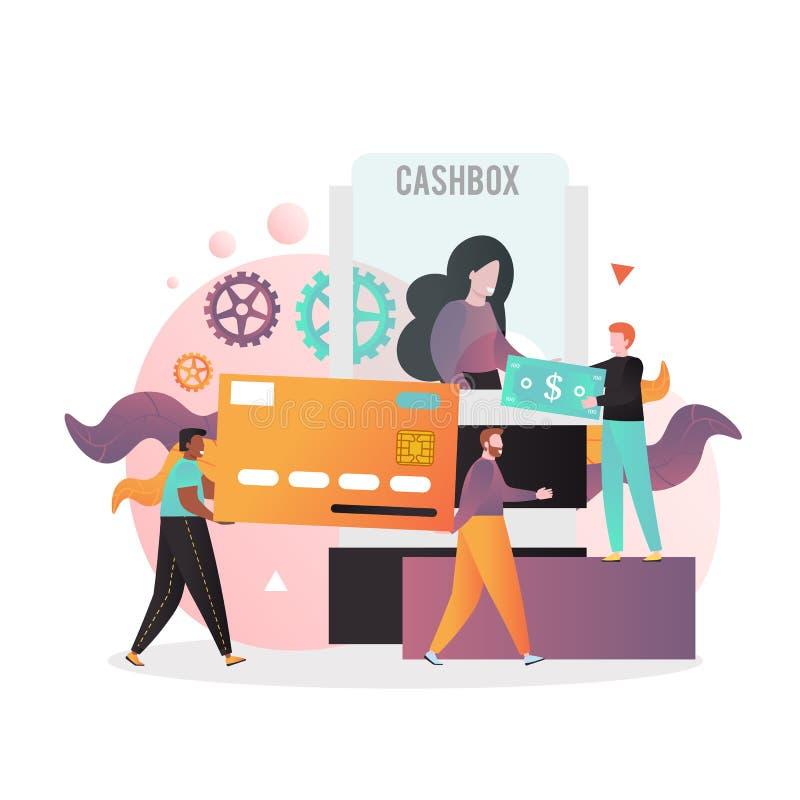 концепция вектора банка cashbox для веб-баннера, страница веб-сайта иллюстрация вектора