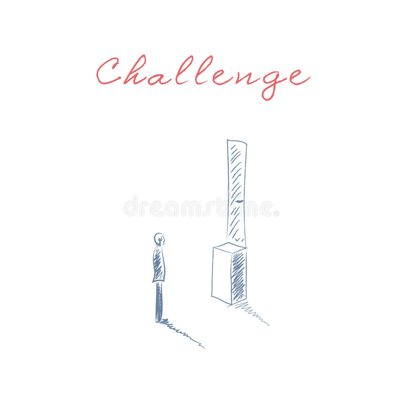 Концепция вектора возможности дела при человек стоя перед дверью слишком высоко Символ препятствий, преодолевая и бесплатная иллюстрация