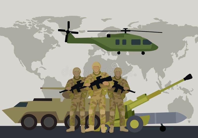 Концепция вектора вооруженных сил страны в плоском дизайне бесплатная иллюстрация