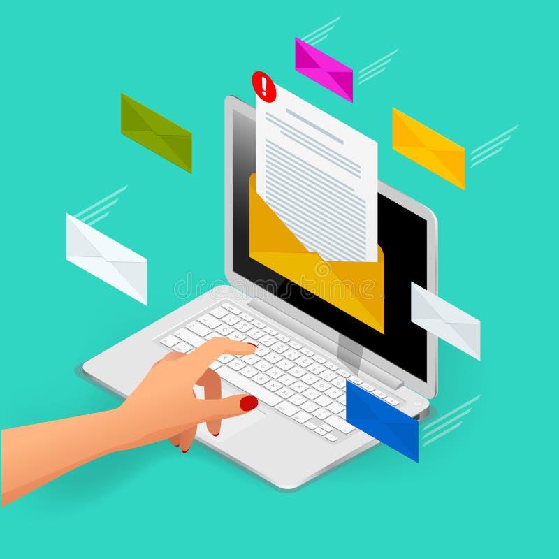 Концепция вектора входящей электронной почты равновеликая Получать сообщения Компьтер-книжка с конвертом и документ на экране Эле иллюстрация штока