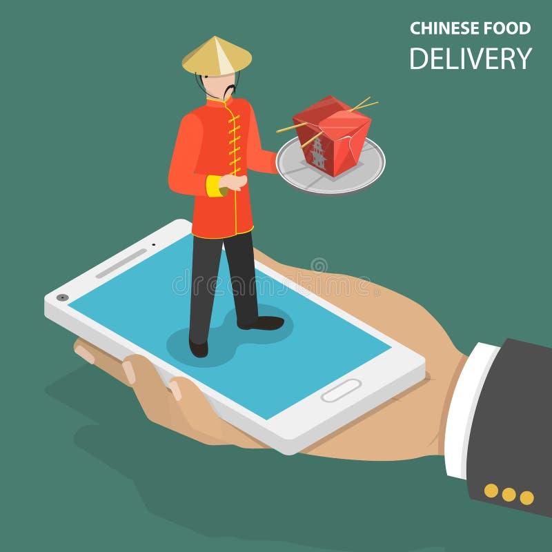 Концепция вектора заказа китайской еды онлайн плоско равновеликая низкая поли иллюстрация штока