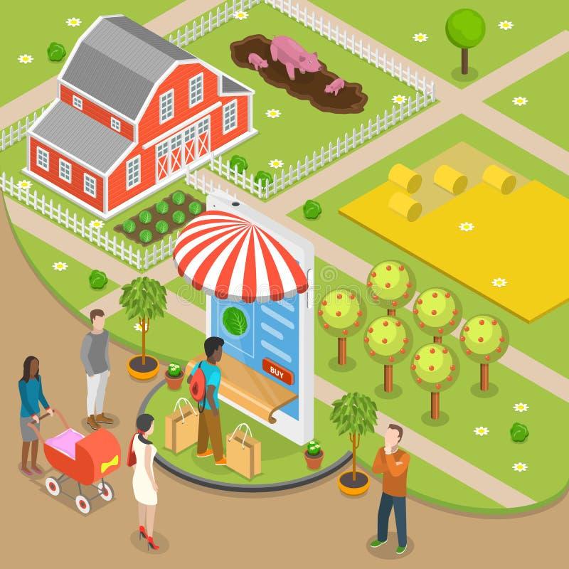 Концепция вектора заказа натуральных продуктов онлайн плоско равновеликая низкая поли бесплатная иллюстрация