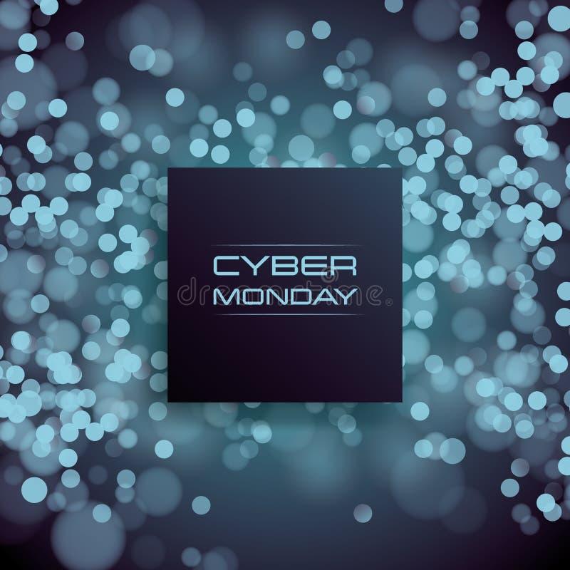 Концепция вектора знамени продажи понедельника кибер на запачканном bokeh сияющем, лоснистой предпосылке Магазин цифров, дела e-м иллюстрация вектора