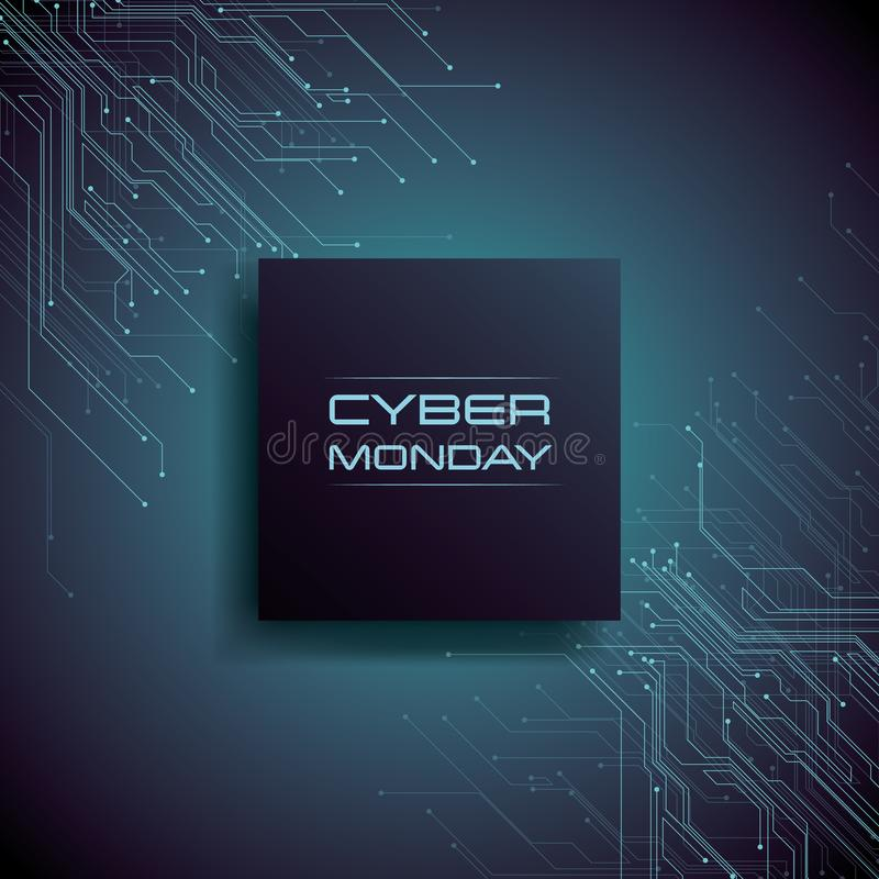 Концепция вектора знамени продажи понедельника кибер с современными линиями цепи pcb в предпосылке Магазин цифров, дела e-магазин бесплатная иллюстрация