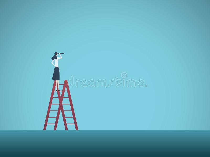 Концепция вектора зрения дела при бизнесмен стоя na górze лестницы Символ визионера, возможности, карьера иллюстрация вектора