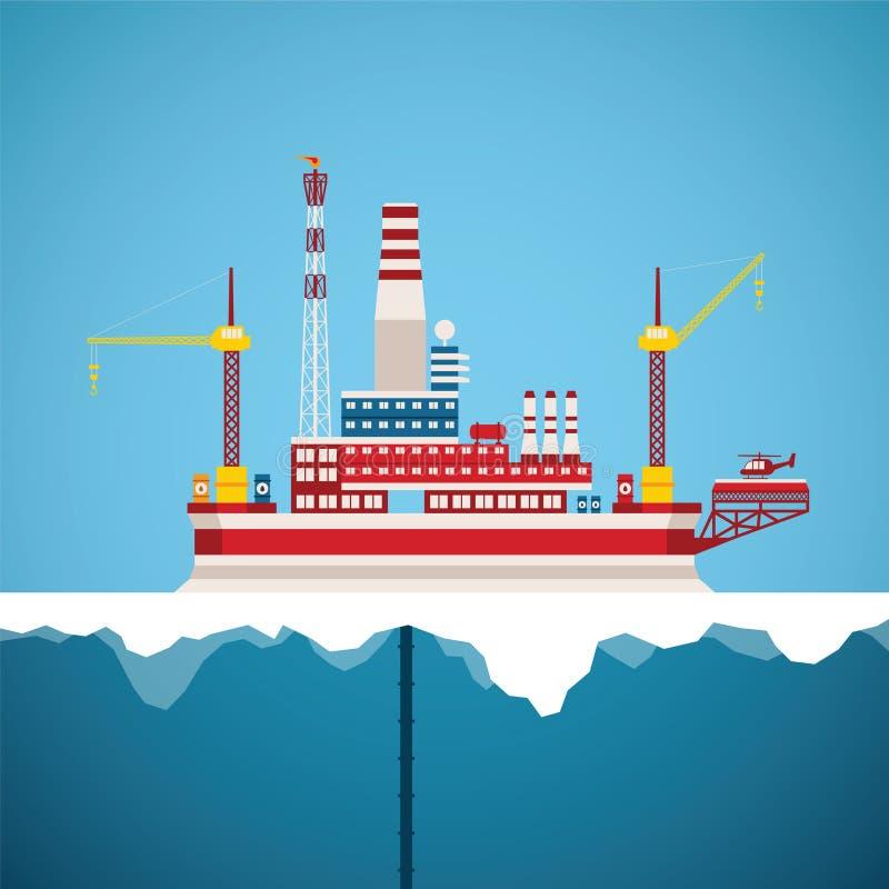 Концепция вектора индустрии ледовитой нефти и газ оффшорной иллюстрация вектора