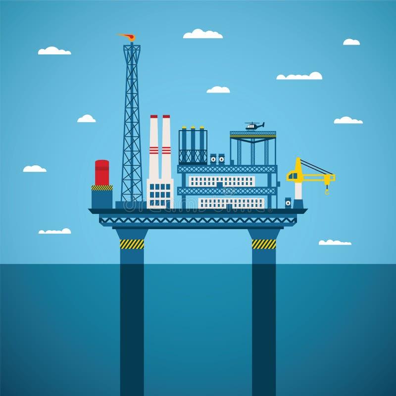 Концепция вектора индустрии нефти и газ оффшорной бесплатная иллюстрация