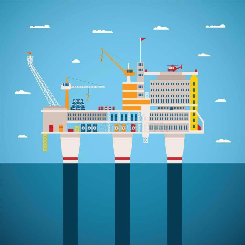 Концепция вектора индустрии нефти и газ оффшорной иллюстрация вектора