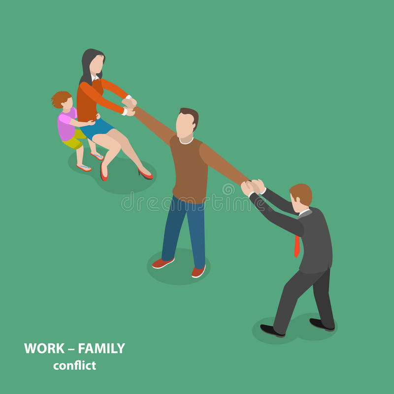 концепция вектора конфликта Работ-семьи плоская равновеликая иллюстрация вектора