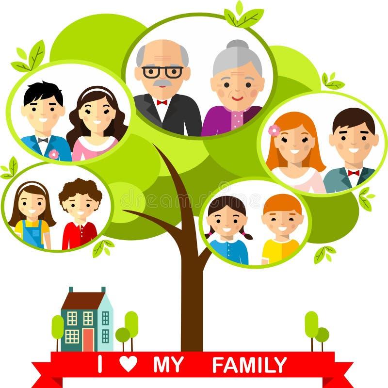 Концепция вектора международного фамильного дерев дерева бесплатная иллюстрация