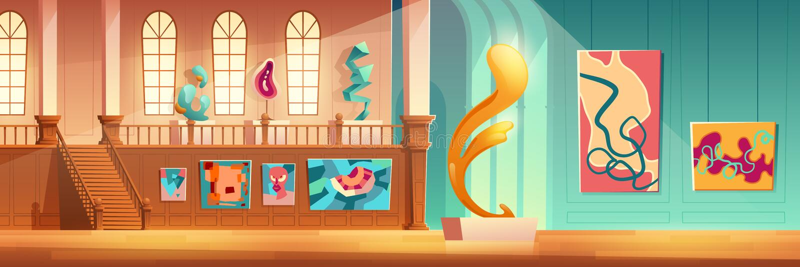Концепция вектора мультфильма выставки современного искусства иллюстрация вектора