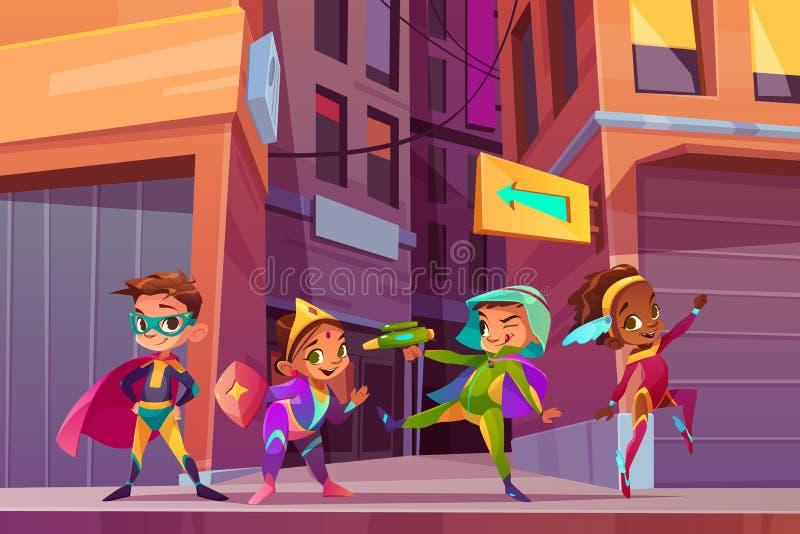 Концепция вектора мультфильма супергероев детей города бесплатная иллюстрация