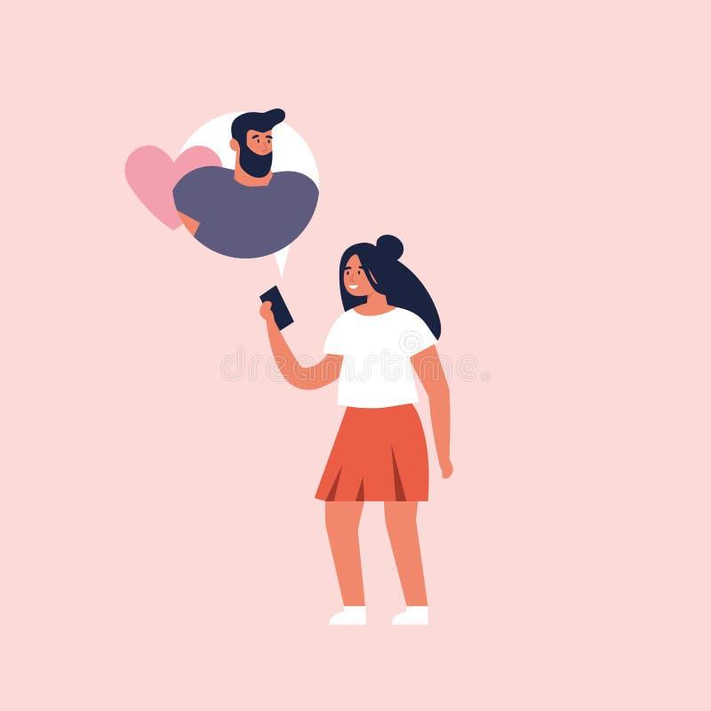 Концепция вектора на онлайн датируя применении, плоском дизайне Мобильное устройство удерживания маленькой девочки и беседовать с иллюстрация вектора