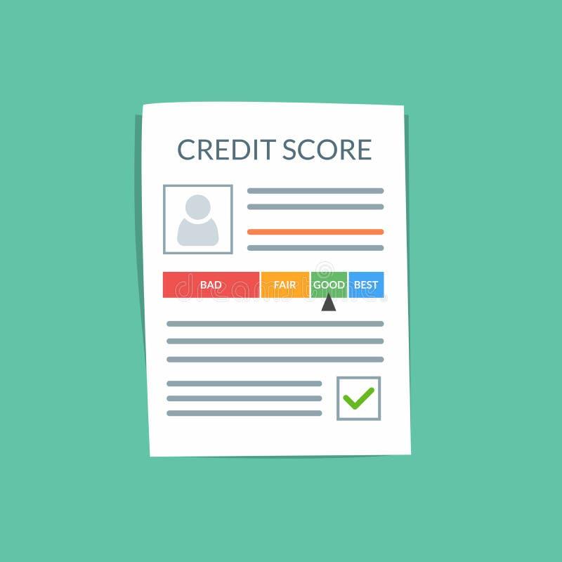 Концепция вектора документа кредитного рейтинга Личная кредитная история клиента на бумажном листе Хороший индекс кредита иллюстрация вектора